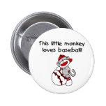 Sock Monkey Loves Baseball Buttons
