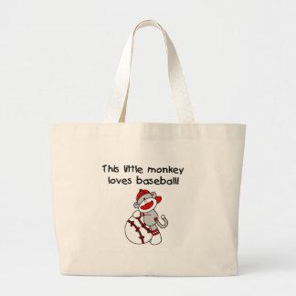 Sock Monkey Loves Baseball Large Tote Bag