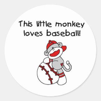 Sock Monkey Loves Baseball Round Stickers