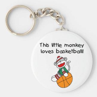 Sock Monkey Loves Basketball Basic Round Button Key Ring