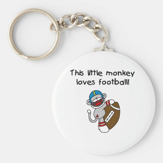 Sock Monkey Loves Football Basic Round Button Key Ring