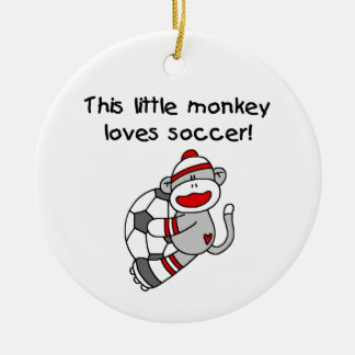 Sock Monkey Loves Soccer T shirts and Gifts Christmas Ornament