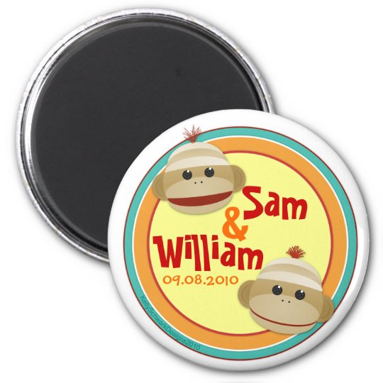 Sock Monkey Madness (Twin) Personalised Magnet