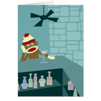 Sock Monkey Martini Bar Greeting Card