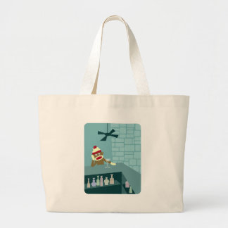 Sock Monkey Martini Bar Large Tote Bag