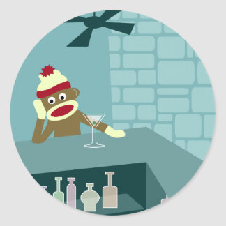 Sock Monkey Martini Bar Round Sticker