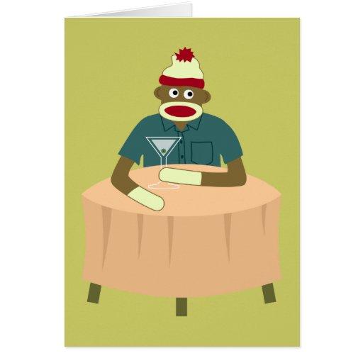Sock Monkey Martini Nightclub Greeting Cards