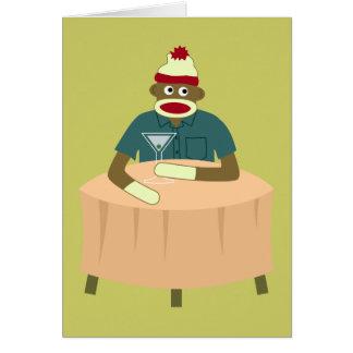 Sock Monkey Martini Nightclub Greeting Card