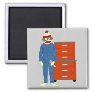 Sock Monkey Mechanic Magnet