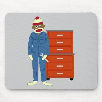 Sock Monkey Mechanic Mouse Pad