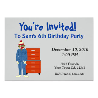 Sock Monkey Mechanic Party Invitations