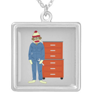 Sock Monkey Mechanic Square Pendant Necklace