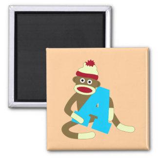 Sock Monkey Monogram Boy A Magnet