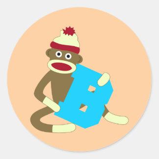 Sock Monkey Monogram Boy B Round Sticker
