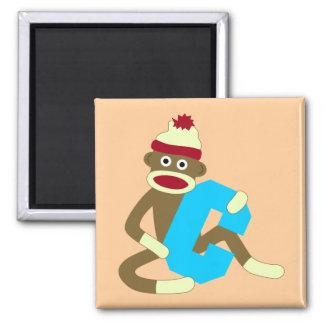 Sock Monkey Monogram Boy C Square Magnet