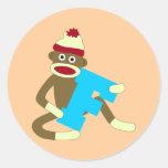 Sock Monkey Monogram Boy F Round Sticker