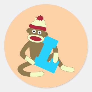 Sock Monkey Monogram Boy L Round Sticker