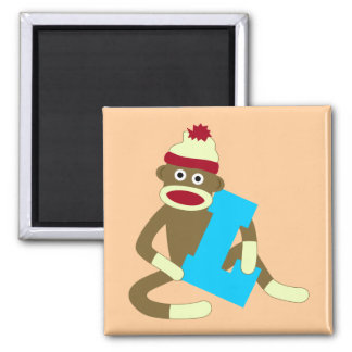 Sock Monkey Monogram Boy L Square Magnet