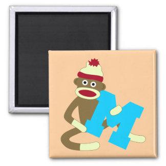 Sock Monkey Monogram Boy M Magnet