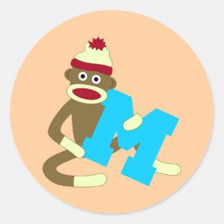 Sock Monkey Monogram Boy M Round Sticker