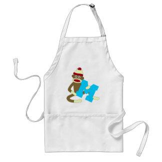 Sock Monkey Monogram Boy M Standard Apron