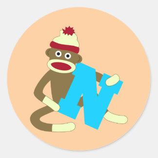 Sock Monkey Monogram Boy N Round Sticker