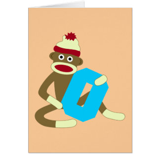 Sock Monkey Monogram Boy O Card