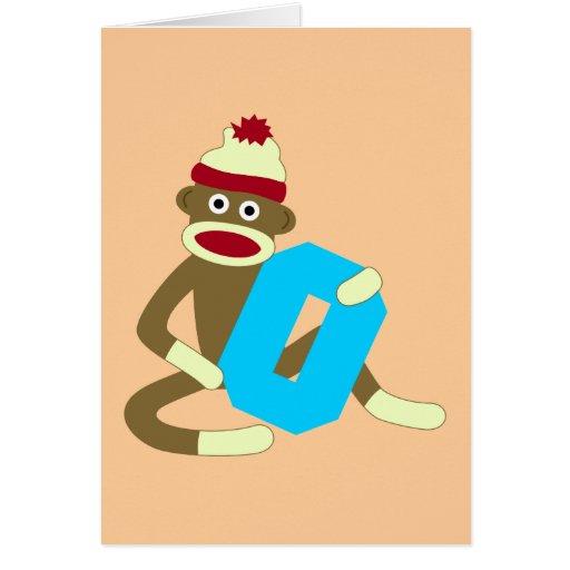 Sock Monkey Monogram Boy O Cards