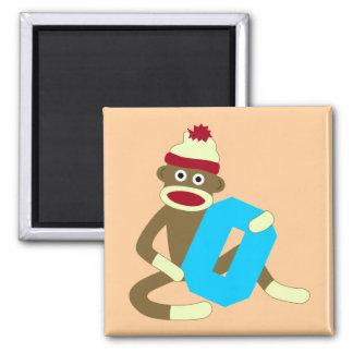 Sock Monkey Monogram Boy O Square Magnet