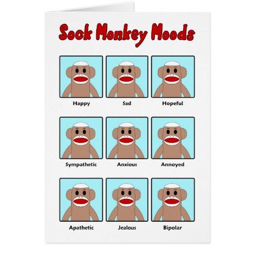 Sock Monkey Moods Greeting Card