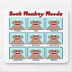 Sock Monkey Moods Mousepad