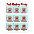 Sock Monkey Moods Postcard