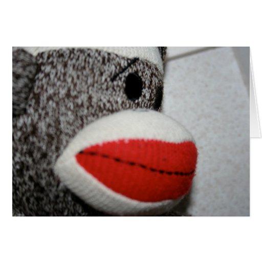 Sock Monkey Notecard Greeting Card