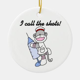 Sock Monkey Nurse I Call the Shots Gifts Christmas Ornament