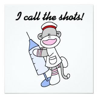 "Sock Monkey Nurse I Call the Shots Gifts 5.25"" Square Invitation Card"