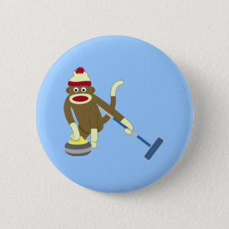 Sock Monkey Olympic Curling 6 Cm Round Badge