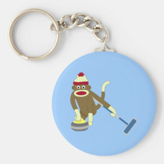 Sock Monkey Olympic Curling Basic Round Button Key Ring