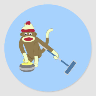 Sock Monkey Olympic Curling Classic Round Sticker