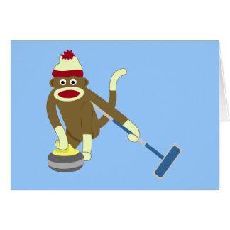 Sock Monkey Olympic Curling Greeting Card