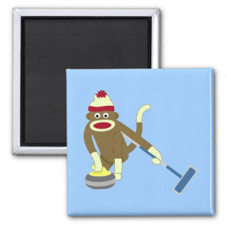 Sock Monkey Olympic Curling Magnet