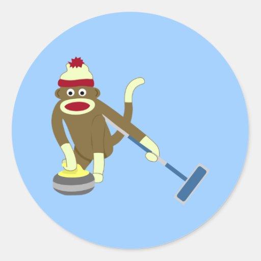 Sock Monkey Olympic Curling Round Sticker