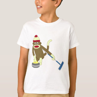 Sock Monkey Olympic Curling T-Shirt