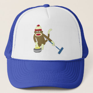 Sock Monkey Olympic Curling Trucker Hat