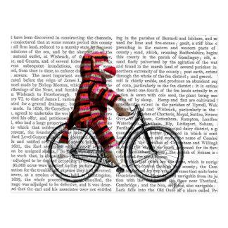 Sock Monkey on Bicycle Postcard