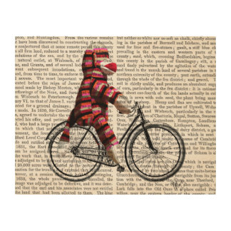 Sock Monkey on Bicycle Wood Print