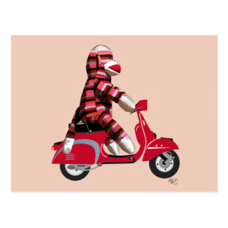 Sock Monkey on Red Moped Postcard