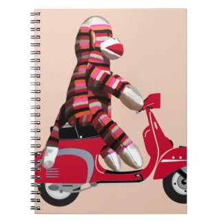 Sock Monkey on Red Moped Spiral Notebook
