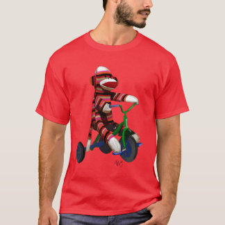 Sock Monkey on Tricycle T-Shirt