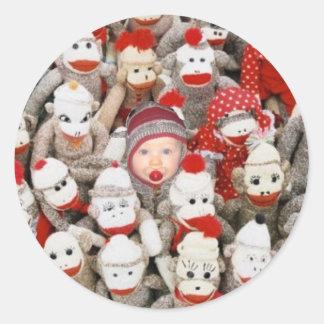 Sock Monkey Party Round Sticker