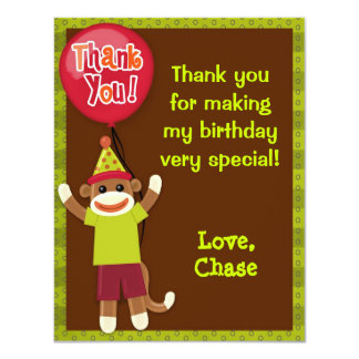 Sock Monkey Party Thank You Card